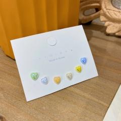 925 silver needle color love stud earrings coloer 6 pcs/set