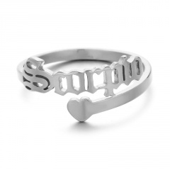 Twelve Constellation Letters Love Heart Stainless Steel Open Ring Scorpio