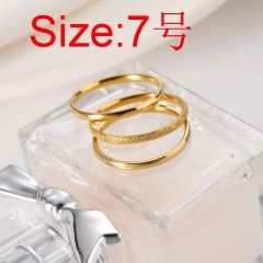 3pcs/set Plain ring titanium steel ring set #7 gold