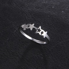 4 connected stars stainless steel rings 18mm