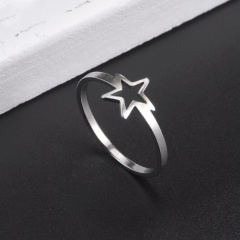 Hollow five-pointed star stainless steel ring 18mm