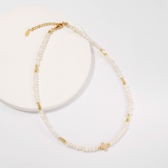 Simple geometric freshwater pearl copper necklace (chain length 40+5cm) G