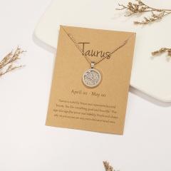 18KGP Daytime Twelve Constellation Paper Card Necklace (Pendant size: 1.7*2cm, chain length: 45+5cm, paper jam: 9.5*7cm) Taurus
