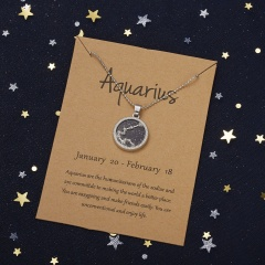 18KGP Night Twelve Constellation Paper Card Necklace (Pendant size: 1.7*2cm, chain length: 45+5cm, paper jam: 9.5*7cm) Aquarius