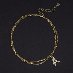Gold 26 letters inlaid rhinestone pendant double layer anklet(chain 23+5cm) A
