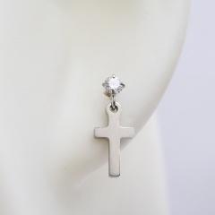 Stainless steel geometric inlaid cubic zirconia ear studs cross