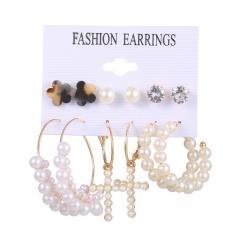 6 pairs of imitation pearl inlaid with rhinestone geometric combination stud earrings set (Earring size: 0.5-8.5cm) C