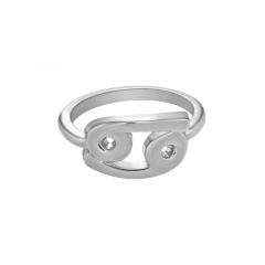 Symbol Edition Twelve Constellation Letter Silver Open Ring Cancer