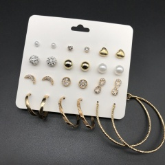 12pairs/set Imitation pearl round heart-shaped set with rhinestone combination earrings (size 0.4-4.7cm) gold