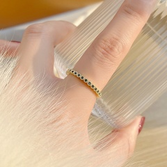 Simple and Micro Inlaid Cubic Zirconia Open Copper Ring Emerald