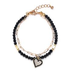 Geometry inlaid rhinestone pendant crystal beaded chain double bracelet (chain length 17+3cm) love heart