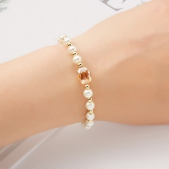 Round beads imitation pearl crystal beaded bracelet (chain length 17+3cm) gold/1PC