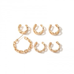 6pcs/set Chain earrings ear clip set (Size: ear ring 2.7cm, ear clip 1.1cm) gold