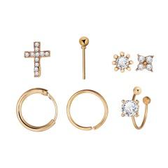 Cross Flower inlaid rhinestone ear clip combination earrings set (Size: Cross 1cm, flower 0.7cm, ear ring 1.3cm) gold