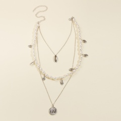 Shell imitation pearl coin head embossed pendant multi-layer necklace (Size: 38~52+5cm) silver
