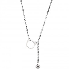 Kitty cat hollow tassel bell chain beach copper anklet (Circumference: 20+4cm) platinum