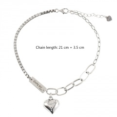 Luck girl long love geometric chain beach copper anklet (Circumference: 20+5cm) platinum