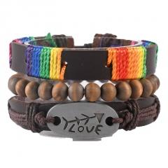 3pcs/set love rainbow brown wooden beads retro woven leather adjustable bracelet set A