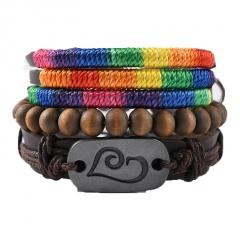 3pcs/set love rainbow brown wooden beads retro woven leather adjustable bracelet set D