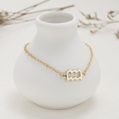 Symbol Edition Twelve Constellation Paper Card Chain Bracelet (Chain length: 18+3cm, paper jam: 9*7.5cm) Aquarius