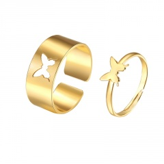 Acrylic Copper butterfly hollow opening couple ring set 2pcs/set gold