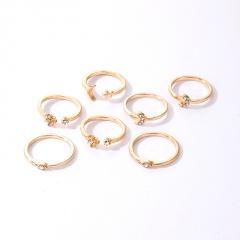 7pcs/set Geometric star moon inlaid rhinestone ring set (size 1.6cm) gold