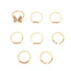 8pcs/set Bohemian style inlaid rhinestone butterfly ring set (size 1.6cm) gold