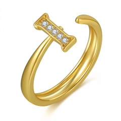Geometric letter environmental protection copper inlaid cubic zirconia open ring (size 2cm) I