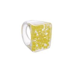 Geometric square transparent fruit resin ring (size #7.5) Lemon