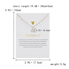 Letter symbol inlaid with rhinestones adjustable white card paper card necklace (chain length: 45+5cm, cardboard: 10*7.5cm) Wedding anniversary