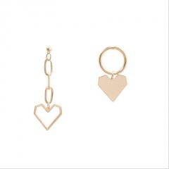 S925 Silver Needle Long Love Asymmetrical Tassel Earrings gold