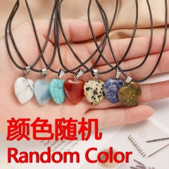Love peach heart natural stone pendant necklace (pendant size 3*2cm) Random
