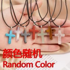 Cross Natural Stone Pendant Necklace (Pendant size 3*2cm) Random