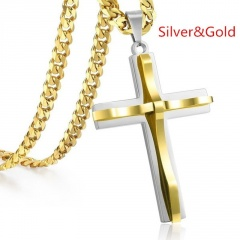Double stainless steel cross pendant men's necklace gold