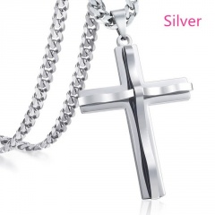 Double stainless steel cross pendant men's necklace silver