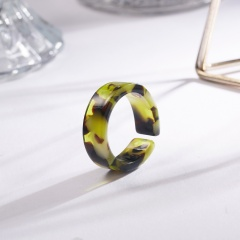 Colorful blooming open resin ring A