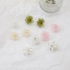 925 Silver Needle Acrylic Flower Frosted Transparent Stud Earrings white