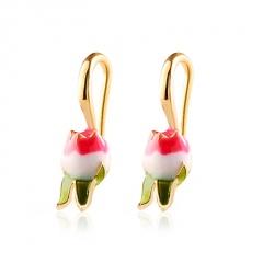 Fashion Alloy Geometric Flower Tulip Earring Ear Hook Romantic Ladies Jewelry Tulip
