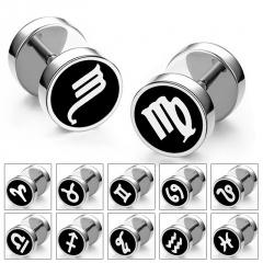 1pc Stainless Steel Twelve Constellation Dumbbell Round Black Stud Earrings Hip Hop Jewelry Aquarius