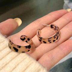 Geometric C-shaped Semi-circular Arc Dappled Resin Stud Earrings Leopard