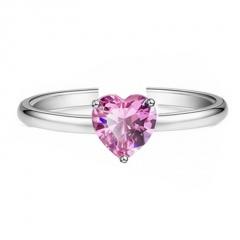 Love Heart-shaped Zircon Open Adjustable Ring Romantic Jewelry Gift (1 Pcs) Pink