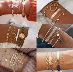 Fashion Alloy Bracelet Set For Women Exaggerated Wrist Jewelry (Color: KC Gold) A(5 Pcs/set)