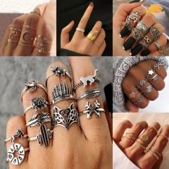 Alloy Multi-style Geometric Animal Knuckle Ring Set Fashion Ladies Gift A(10 pcs/set)