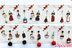 10 Pairs/Lot Mixed Christmas Alloy Asymmetrical Tssel Pendant Earrings Set (Paper Card Size: 6*7.5cm) 10 Pairs/Lot